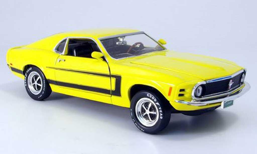 Ford Mustang 1970 1/18 Ertl 1970 grabber jaune mit zierstreifen miniature