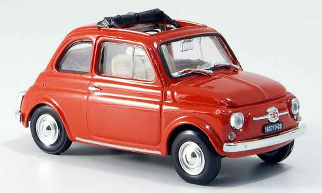 Fiat 500 1/43 Brumm Fkorallenred geoffnetes Faltdach 1965 diecast