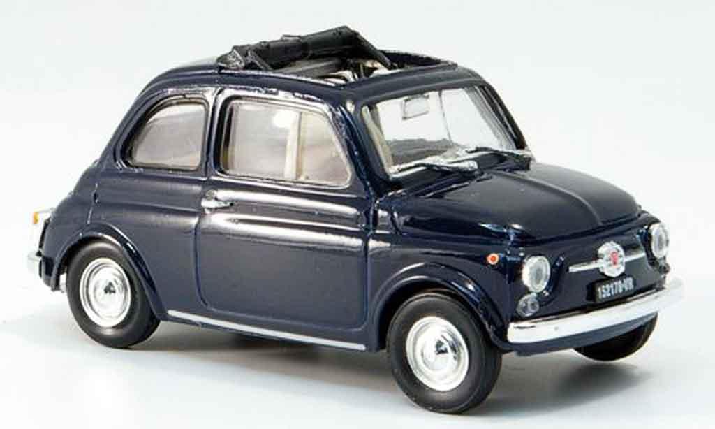 Fiat 500 1/43 Brumm F bleu geoffnetes Faltdach 1965 diecast model cars