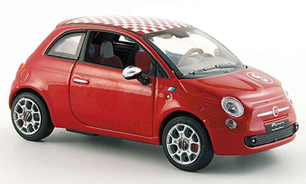 Fiat 500 1/43 Norev red white kariertes Dach 2007 diecast model cars