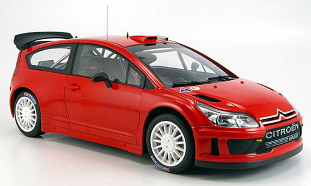 Citroen C4 WRC 1/18 Autoart rouge plain body version miniature