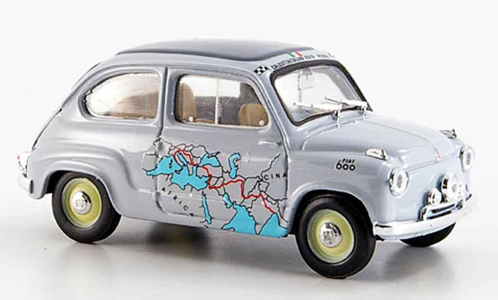 Fiat 600 1/43 Brumm Raid Rom Kalkutta 13260 km in 11 Tagen 1955 miniature