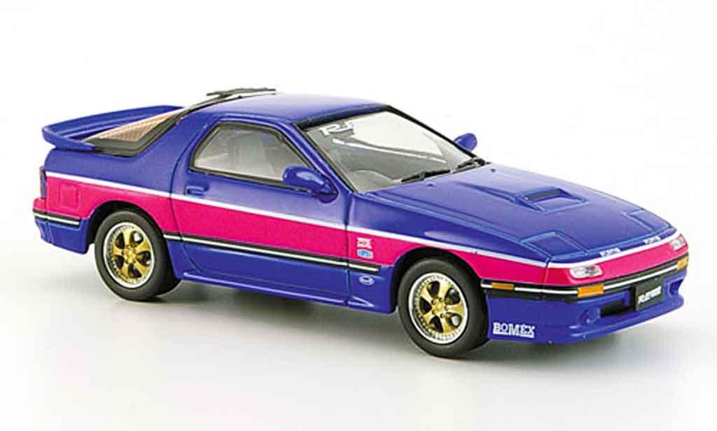Mazda RX7 1985 1/43 Aoshima bleu Savanna FC3S miniatura