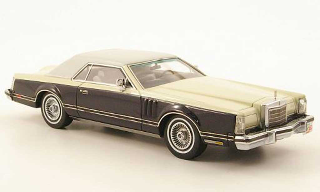 Lincoln Continental 1979 1/43 Neo Mark V bleu/creme/blanche miniature