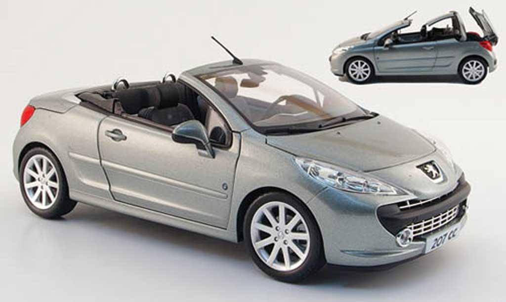 Peugeot 207 CC 1/18 Norev roland garros grise 2008 miniature
