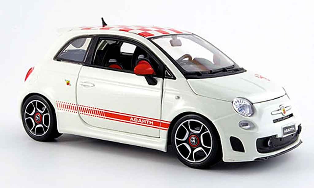 Fiat 500 Abarth 1/18 Burago red-white 2007 diecast model cars