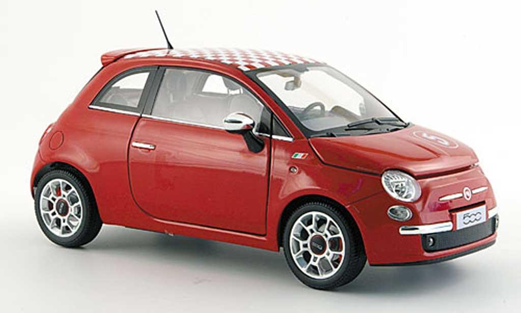 Fiat 500 Sport 1/18 Norev no.5 rosso mit bianca-rosso-kariertem dach 2007 miniatura