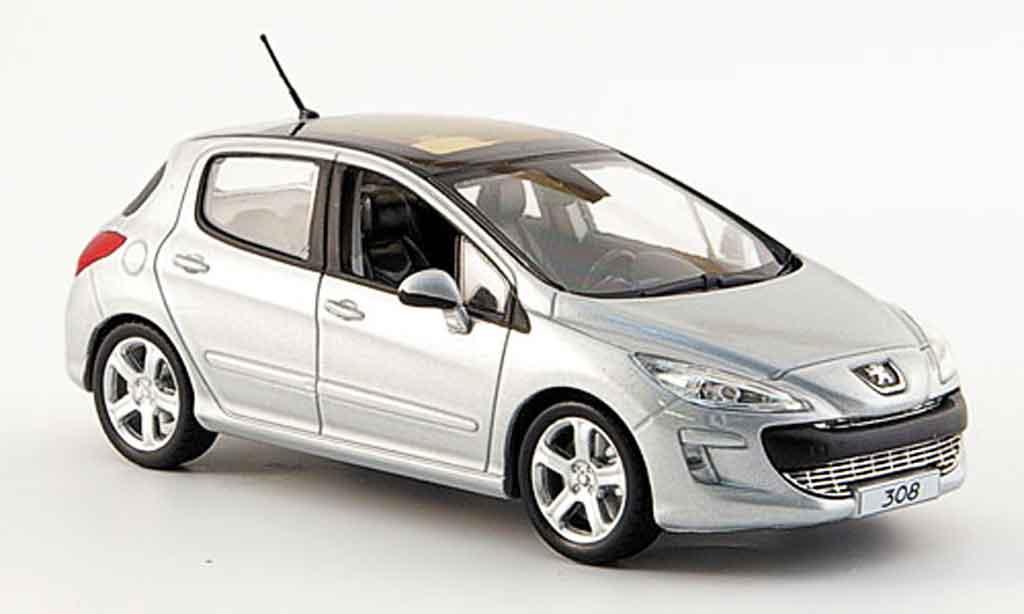 Peugeot 308 1/43 Norev feline grey 5portes 2007 diecast model cars