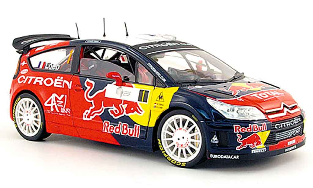 Citroen C4 WRC 1/18 Solido no.1 red bull s.loeb tour de corse 2008 miniature