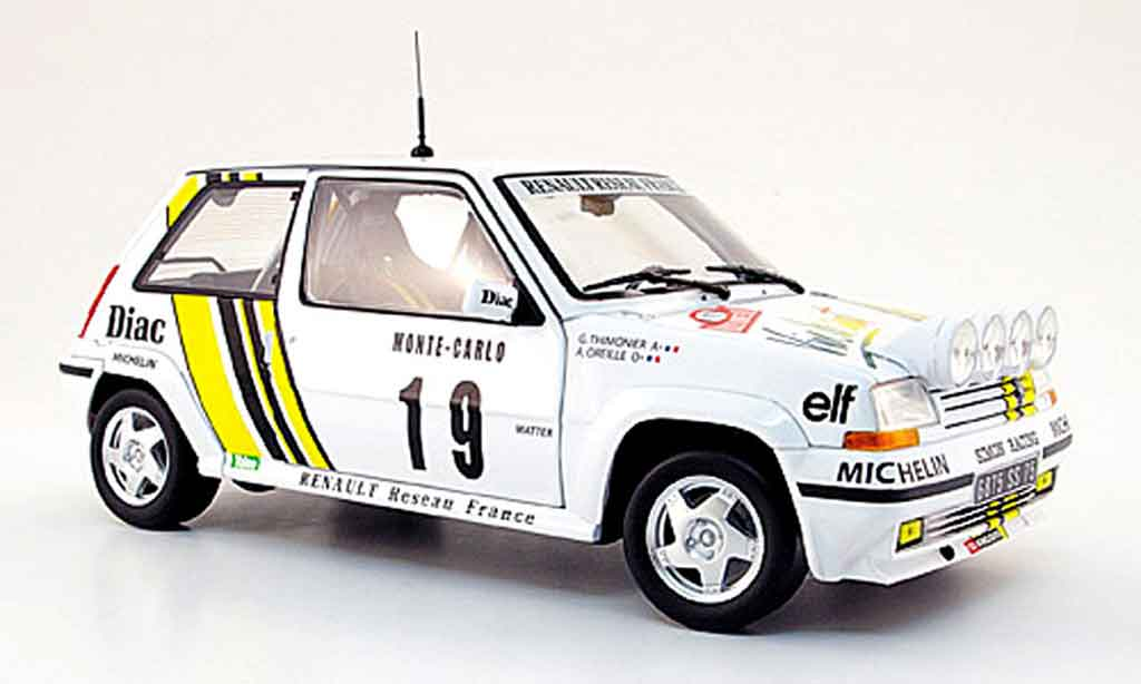 Renault 5 GT Turbo 1/18 Norev no. 19 diac rallye monte carlo 1989 modellautos