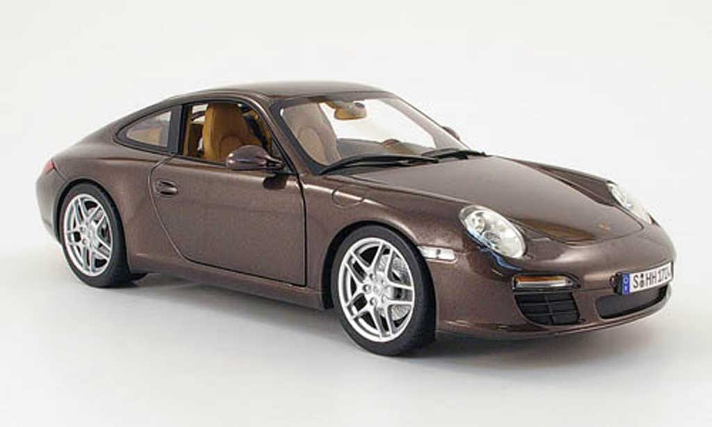 Porsche 997 Carrera 1/18 Norev marron 2008 miniature