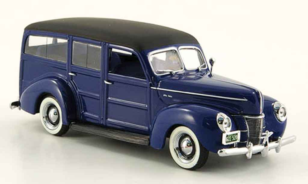 Ford 1940 1/43 Minichamps V8 De Luxe Woody bleu miniature
