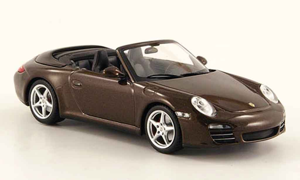 Porsche 997 4S 1/43 Minichamps Cabriolet Carrera marron 2008