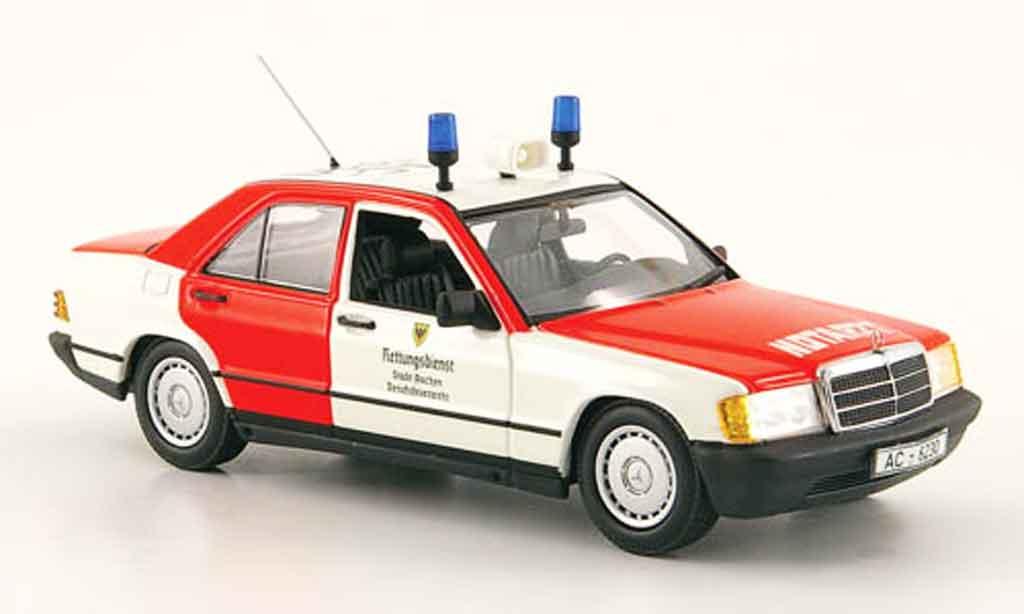 Mercedes 190 D 1/43 Minichamps D (W201) Notarzt pompier Aachen 1984 diecast model cars