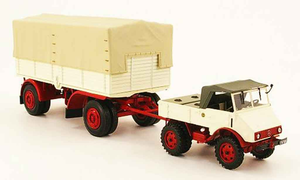 Mercedes Unimog 1/43 Minichamps 401 white red avec Pritschenanhanger 1951 diecast model cars