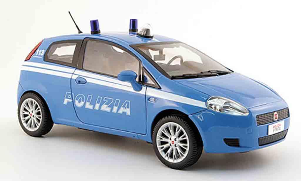 Fiat Grande Punto 1/18 Mondo Motors police polizia bleu polizei italien miniature