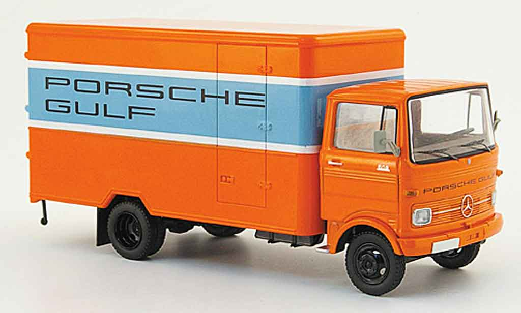 Mercedes LP 608 1/43 Schuco Kastenwagen orange bleu Gulf miniature