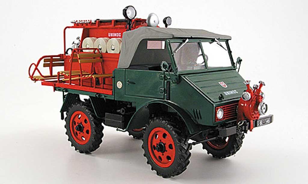 Mercedes Unimog 1/18 Schuco 401 pompier avec spezialaufbau verte rouge 1953 miniature