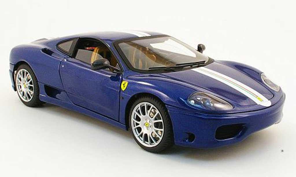 Ferrari 360 Modena Challenge 1/18 Hot Wheels stradale bleu avec italia-bandes miniature