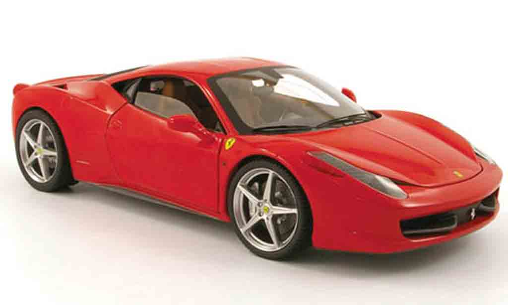 Ferrari 458 Italia 1/18 Hot Wheels roja 2009 miniatura