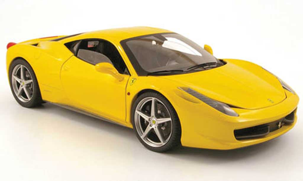 Ferrari 458 Italia 1/18 Hot Wheels amarillo 2009 miniatura