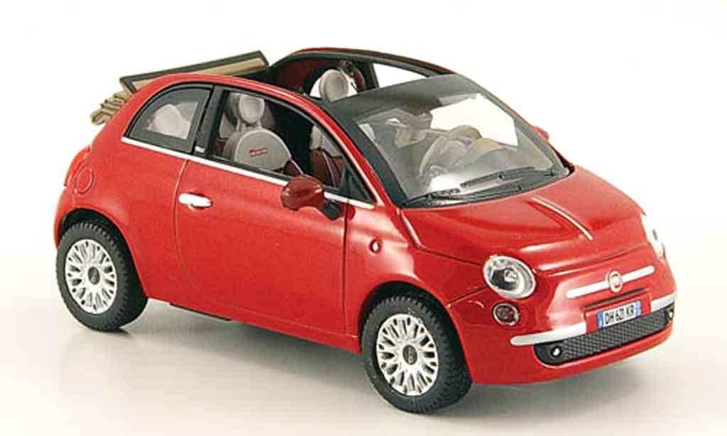 Fiat 500 1/43 Norev C rot offenes Rolldach 2009 modellautos