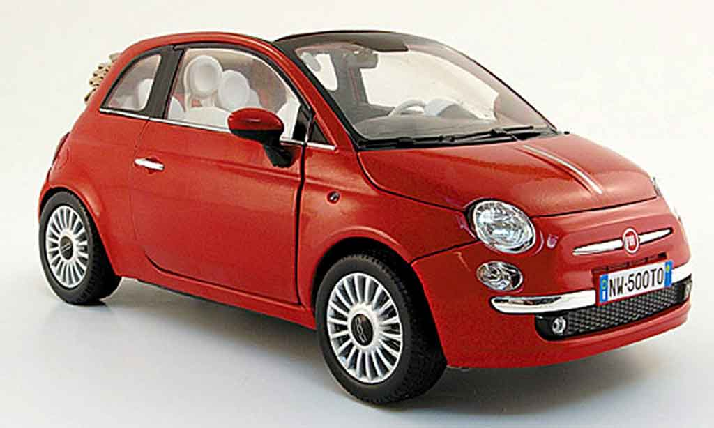 Fiat 500 C 1/18 Mondo Motors cabriolet red 2009 diecast model cars