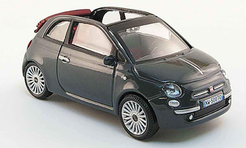 Fiat 500 1/43 Mondo Motors C Cabriolet grise 2009 miniature