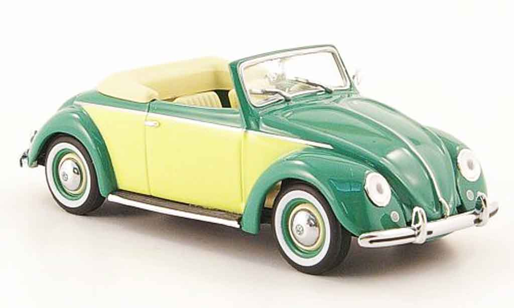 Volkswagen Coccinelle 1/43 Minichamps hebmuller cabriolet green yellow 1949 diecast