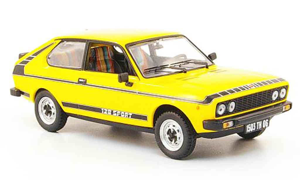 Fiat 128 1/43 Norev Coupe Sport yellow 1978 diecast