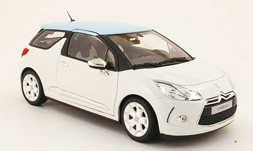 DS Automobiles DS3 1/18 Norev white/bleu 2010 diecast model cars