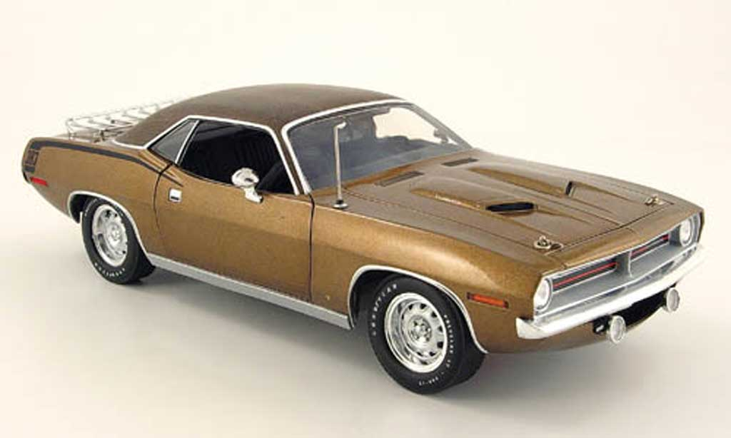 Plymouth Cuda 1970 1/18 Highway 61 gator top marron miniature