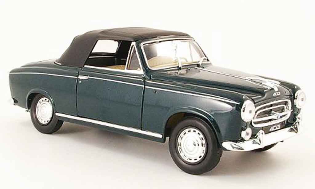 Peugeot 403 Cabriolet 1/18 Welly grun avec capote 1957 miniature