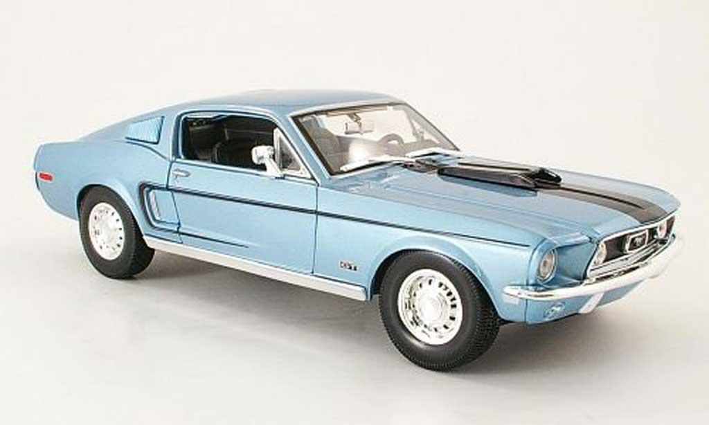 Ford Mustang 1968 1/18 Maisto gt cobra jet bleu/noire miniature
