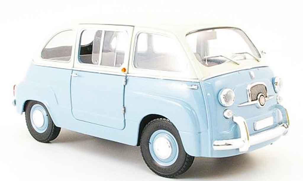 Fiat 600 1/18 Mini Miniera multipla bicolore bleu/grise miniature