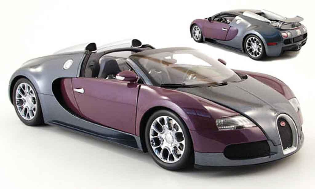 Bugatti Veyron Grand Sport 1/18 Minichamps grise/lila 2009 miniature