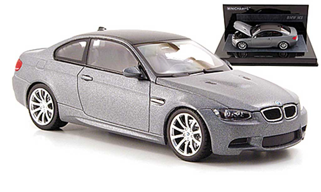 Bmw M3 E92 1/43 Minichamps mattgrey/carbonoptik 2009 diecast model cars
