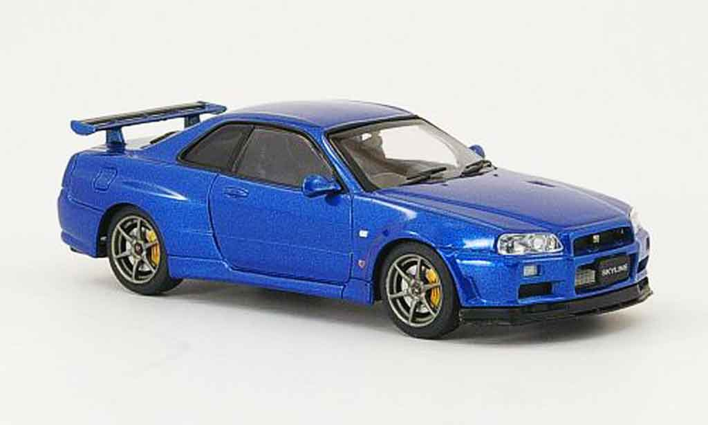 Nissan Skyline R34 1/43 Ebbro GT R V Spec II bleu 2001 02 miniature