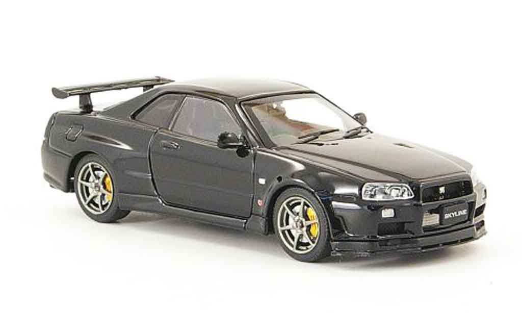 Nissan Skyline R34 1/43 Ebbro GT R V Spec II black 2001 02 diecast model cars