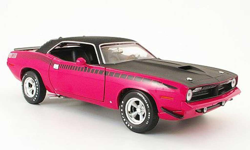 Plymouth Cuda 1970 1/18 Ertl aar pink/mattnoire avec vinyldach miniature