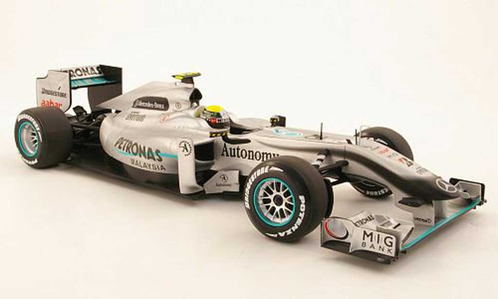 Mercedes F1 1/18 Minichamps MGP W01 No4 Petronas N.Rosberg Saison 2010 miniatura