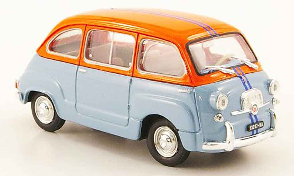 Fiat 600 1/43 Brumm D Multipla bleu orange 1966 miniature