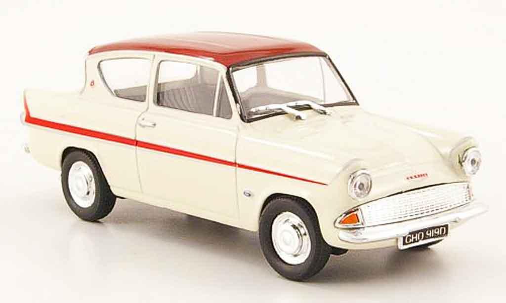 Ford Anglia 1/43 Cararama MkI 105E blanche rouge miniature