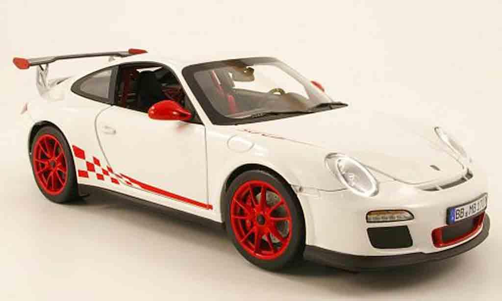 Porsche 997 GT3 RS 1/18 Norev 2010 rs blanche mit rougeer dekoration miniature