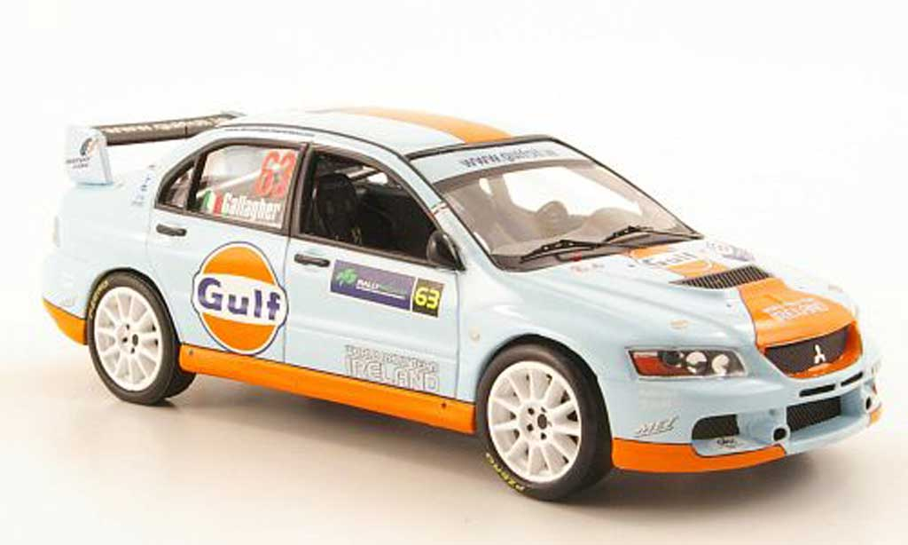 Mitsubishi Lancer Evolution IX 1/43 IXO No.63 Gulf Rally Irland 2009 miniature
