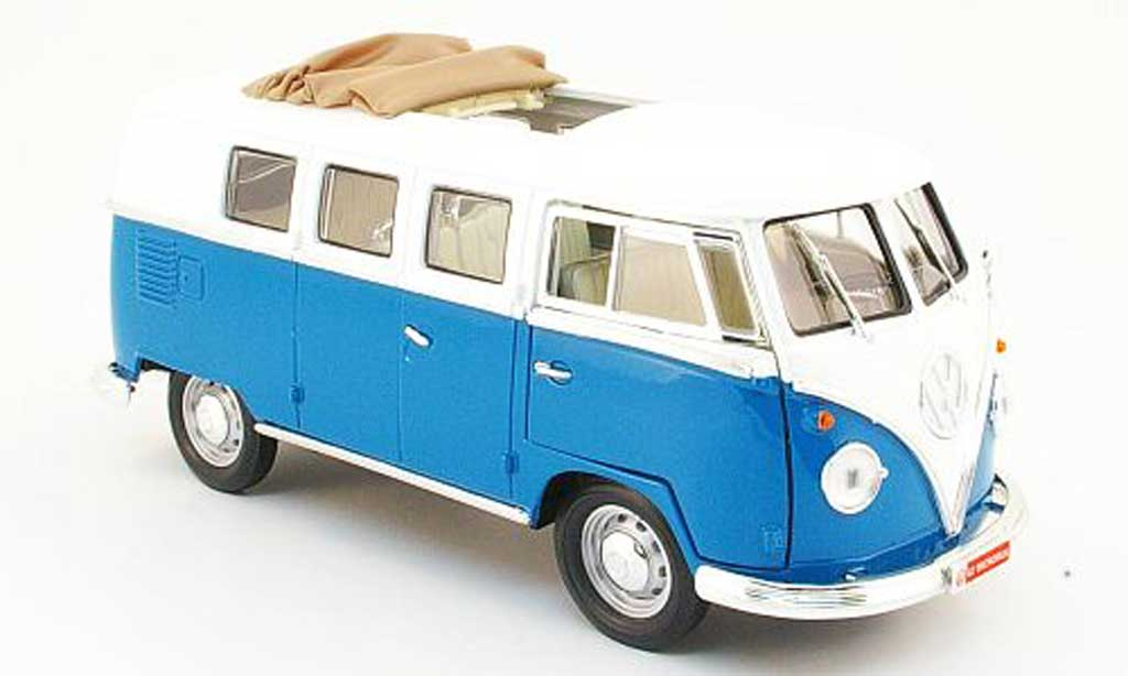 Volkswagen Combi 1/18 Yat Ming bus bleu/white 1962 diecast