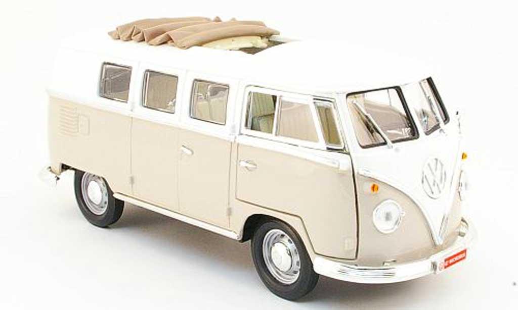 Volkswagen Combi 1/18 Yat Ming bus beige/blanche 1962 miniature