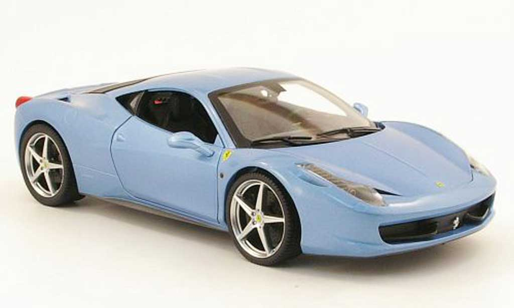 Ferrari 458 Italia 1/18 Hot Wheels grise metallisee bleu miniature