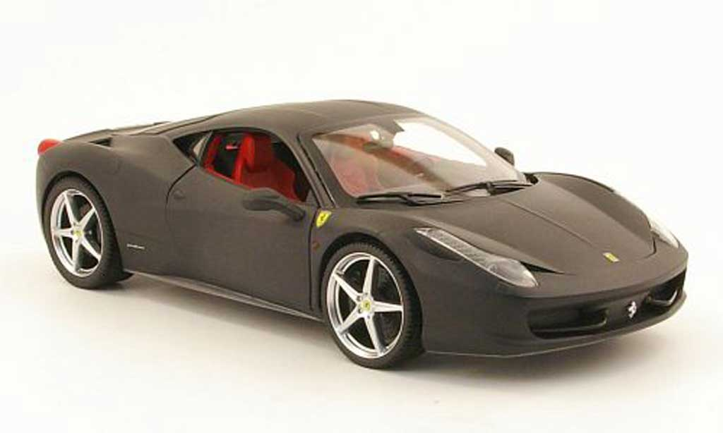 Ferrari 458 Italia 1/18 Hot Wheels Italia matt black diecast model cars