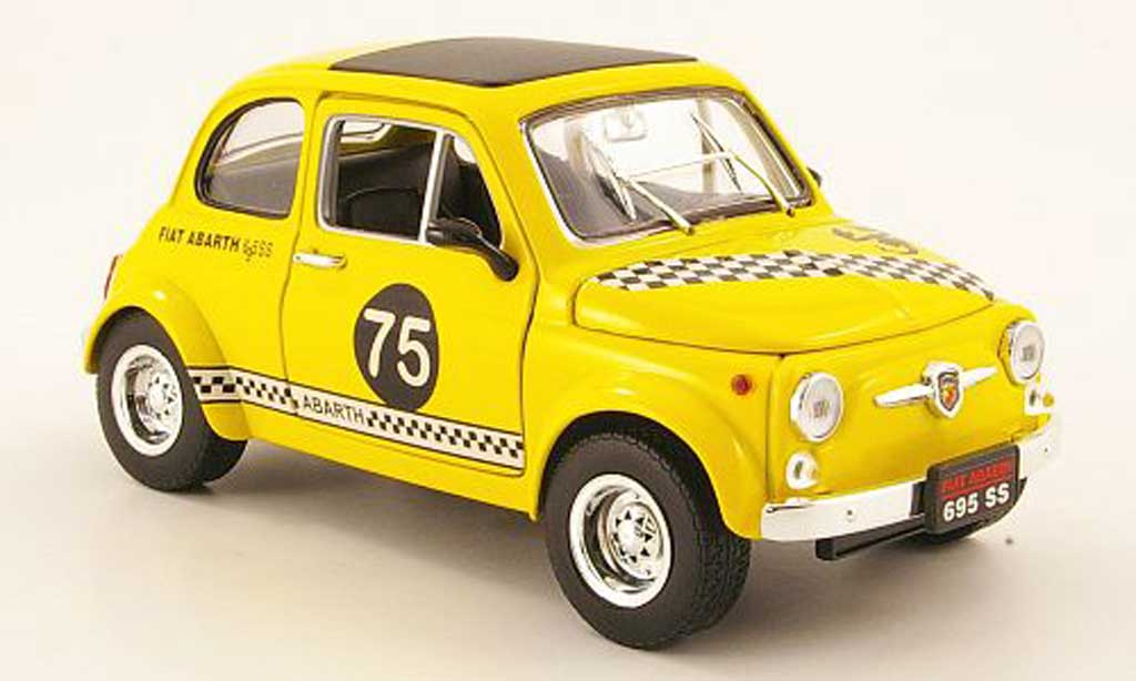 Fiat 500 Abarth 1/18 Mondo Motors 695ss yellow no.75 diecast